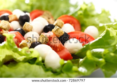 Fresh Greek salad with olives, mozzarella cheese, tomatoes, onions, croutons and crisp greens