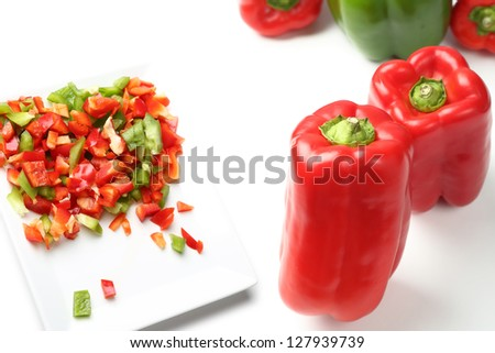 Fresh green and red bell peppers
