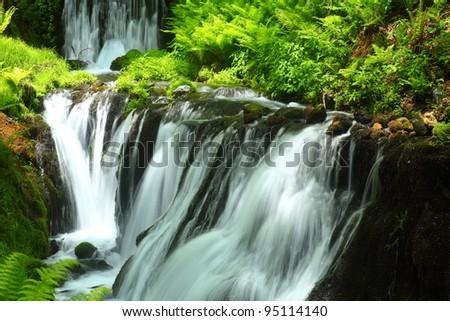Fresh green and waterfall. Shiraito falls. karuizawa nagano japan