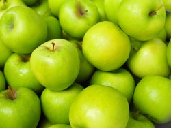 Fresh green apple background for your new goodday