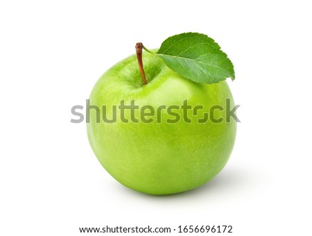 Fresh green apple with green leaf isolated on white background. Clipping path.