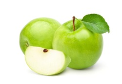 Fresh green apples with green leaf and sliced  isolated on white background.