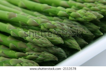 Fresh green asparagus, macro close up