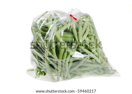 fresh green beans in a bag