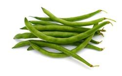fresh green beans (Phaseolus vulgaris) isolated on white background