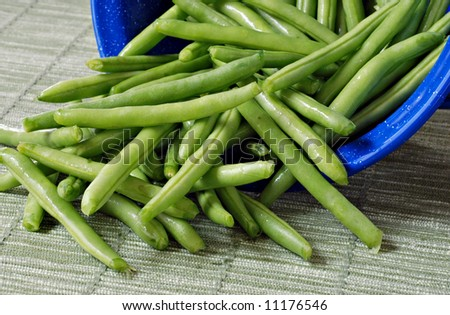 Fresh green beans spilling out of a blue colander onto woven placemat.  CLose-up with shallow dof