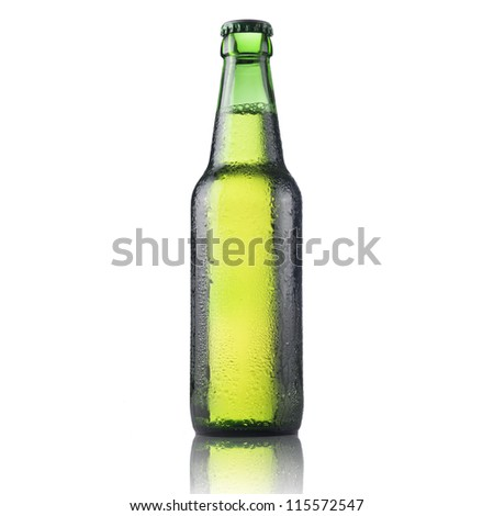 fresh green beer bottle with water drop isolated on white