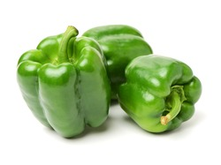 fresh green bell pepper (capsicum) on a white background