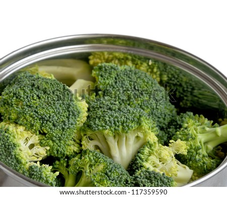Fresh green broccoli in a pan isolated on white