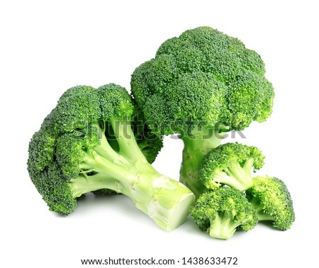 Fresh green broccoli on white background. Organic food