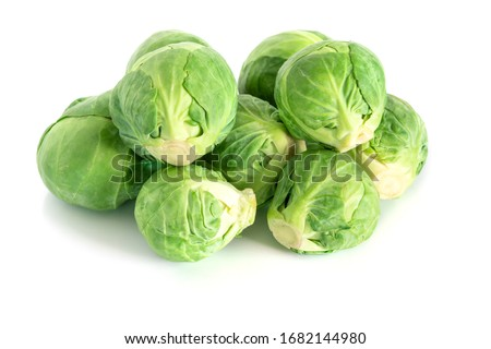 Fresh green brussel sprouts vegetable on white background Stockfoto ©