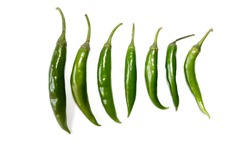 Fresh Green Chillies Isolated on White Background