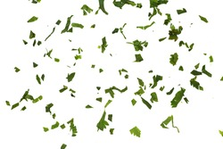 Fresh green chopped parsley leaves isolated on white background and texture, top view. Chopped parsley on a white background isolated. Spice Chopped Parsley Leaves. Fresh Herbs