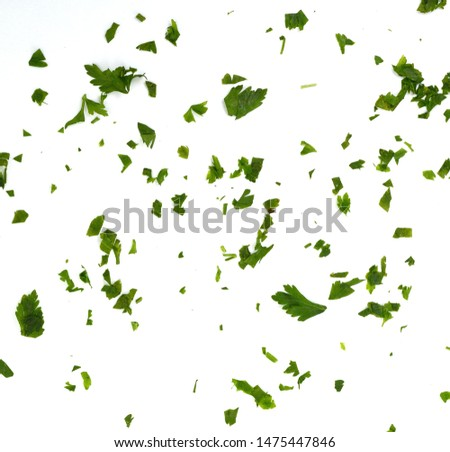 Photo of  Fresh green chopped parsley leaves isolated on white background and texture, top view. Chopped parsley on a white background isolated. Chopped Parsley Leaves. Fresh Herbs