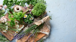 Fresh green garden herbs. Healthy diet eating. top view with copy space