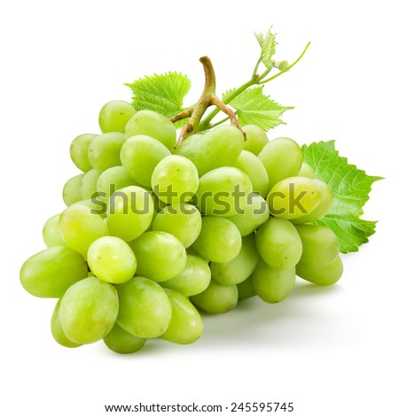 Fresh green grapes with leaves. Isolated on white #245595745