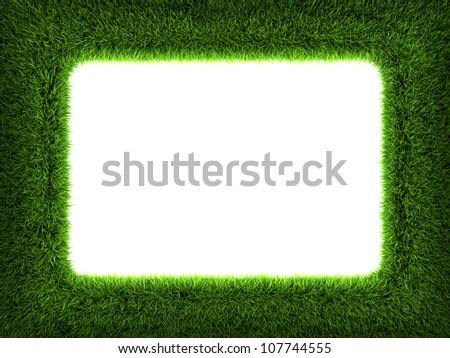 Fresh green grass frame isolated on white background. 3d render