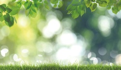 Fresh green grass on blurred background, space for text. Spring season