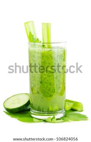 Fresh green healthy cucumber and celery smoothie on white
