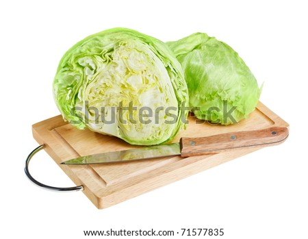 Fresh green iceberg lettuce with knife on wooden chopping board over white background