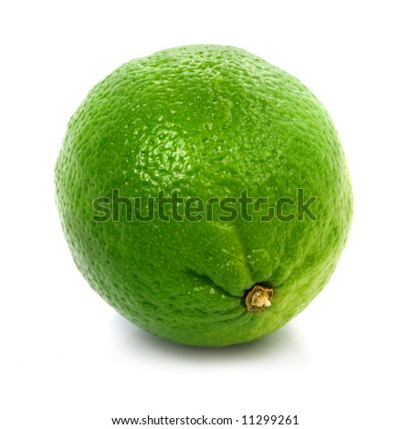 Fresh green lime fruit healthy food isolated on the white background