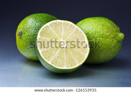 fresh green lime on table