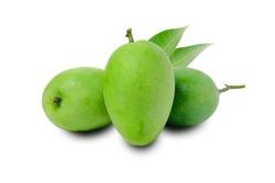 Fresh green mango fruit isolated on white background