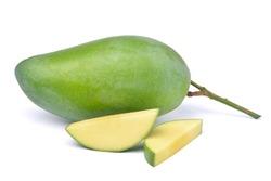 Fresh green mango fruit with sliced isolated on white background