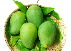 Fresh green mango in basket