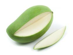 Fresh green mango on white background