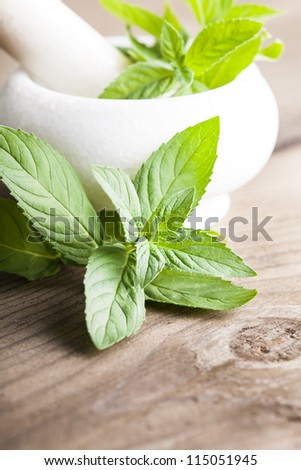 Fresh green mint in mortar on wood background closeup
