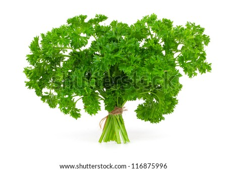 Fresh green parsley, isolated on white background