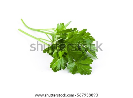 Shutterstock Fresh green parsley isolated on white background. Food ingredient.