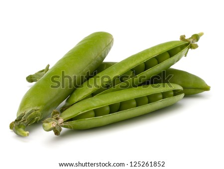 Fresh green pea pod  isolated on white background