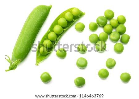 fresh green peas isolated on a white background. top view Foto stock ©