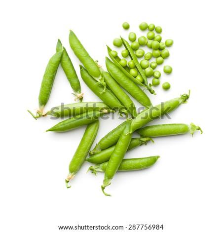 fresh green peas on white background #287756984
