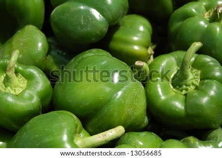 fresh green peppers - stock photo