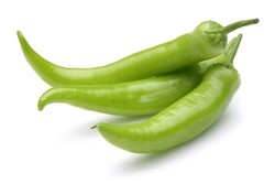 Fresh green peppers isolated on white background