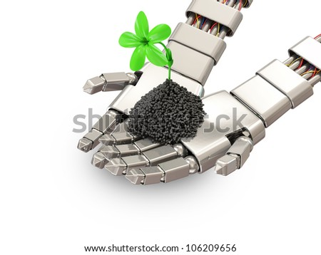 Fresh Green Plant in Metal Hands of Robot isolated on white background