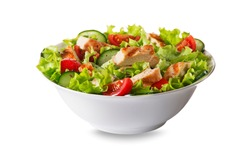 Fresh green salad with chicken breast and tomato isolated on white background 1/29 image series