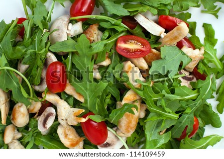Fresh green salad with rucola tomatoes and grilled chicken with self made green sauce