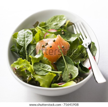 Fresh green salad with smoked salmon close up - stock photo