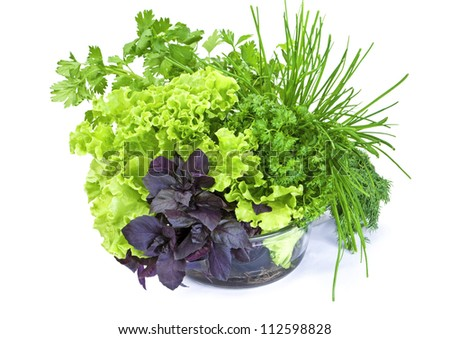 Fresh green-stuff basil, lettuce, parsley and green onion in glass bowl isolated on white  background