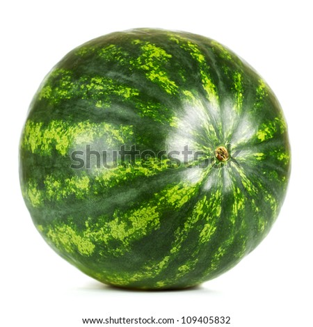 fresh green watermelon isolated on white background