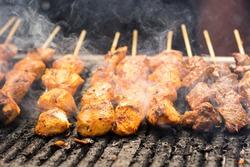 Fresh grilled chicken and beef shish kebab or shashlik