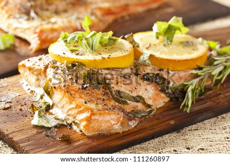 Fresh Grilled Salmon on a wooden plank