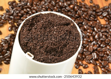 Fresh ground coffee in a grinder.  Shallow depth of field, focus on ground coffee