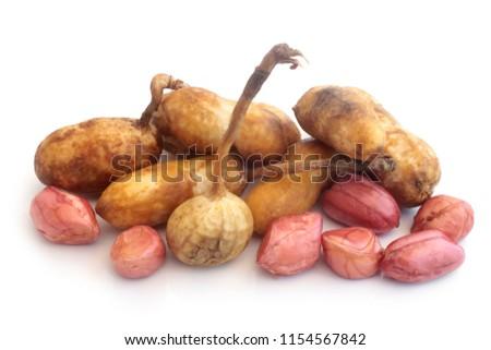 Fresh groundnuts on white background