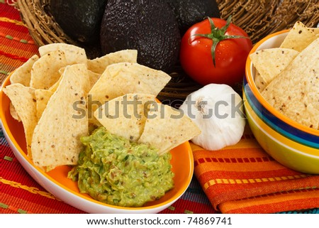 Fresh Guacamole is served up with corn chips