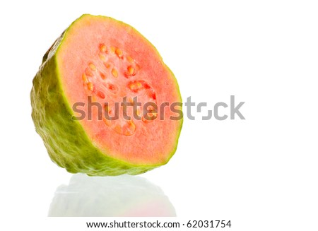 Fresh guava fruit cut in half on a white background